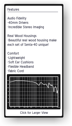 Senta-40 wood headphones Features and Frequency Response Graph